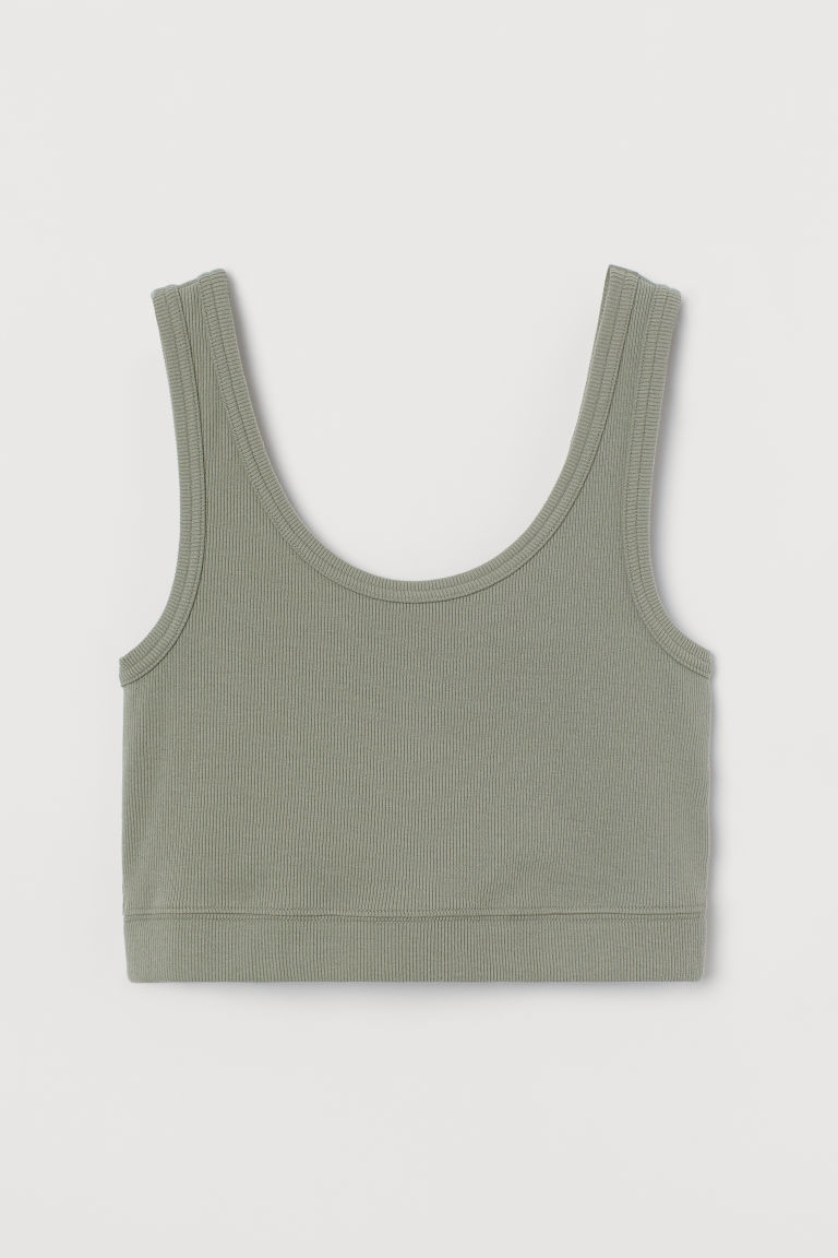 H & M - 短版上衣 - 綠色
