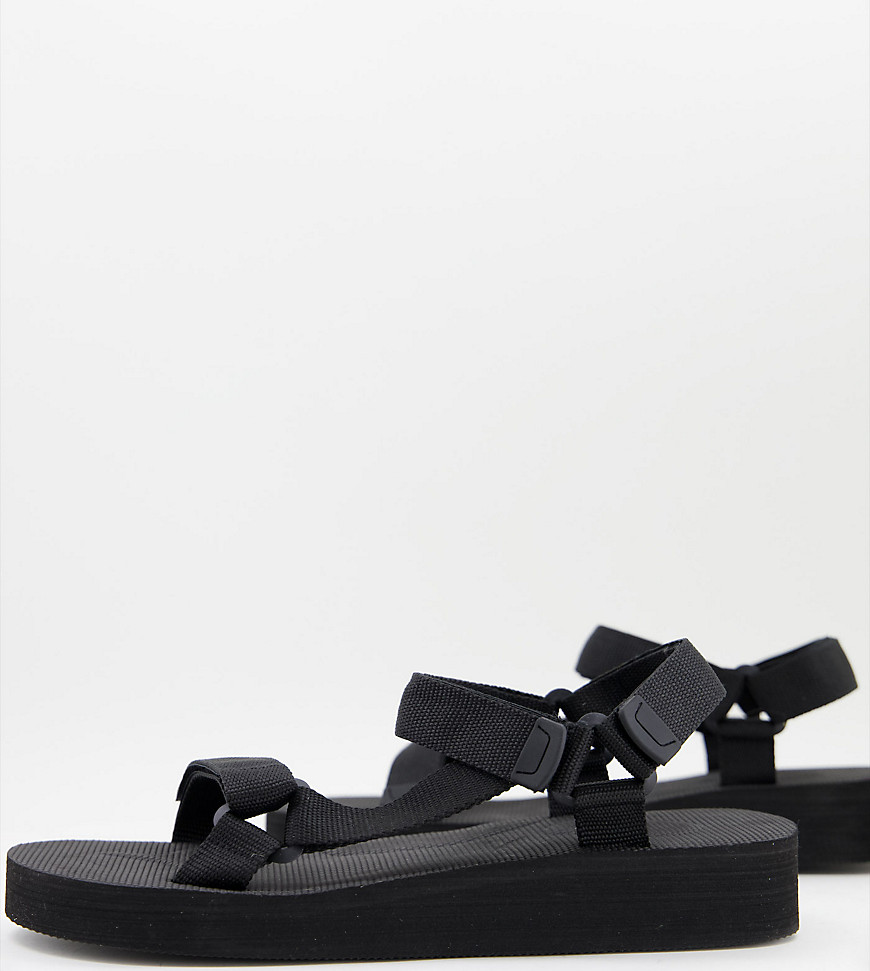 Truffle Collection wide fit sporty sandals in black