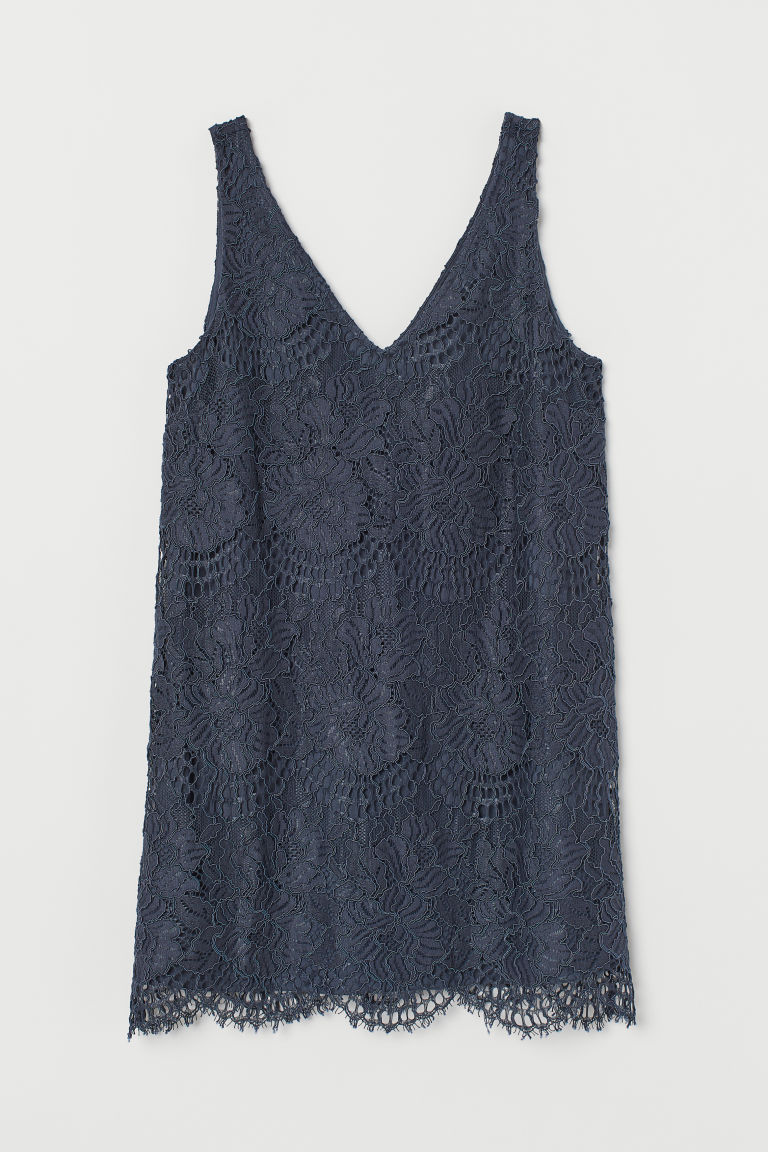 H & M - 蕾絲洋裝 - 藍色