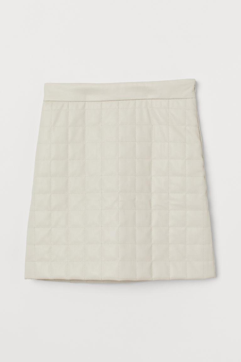 H & M - 車棉短裙 - 白色
