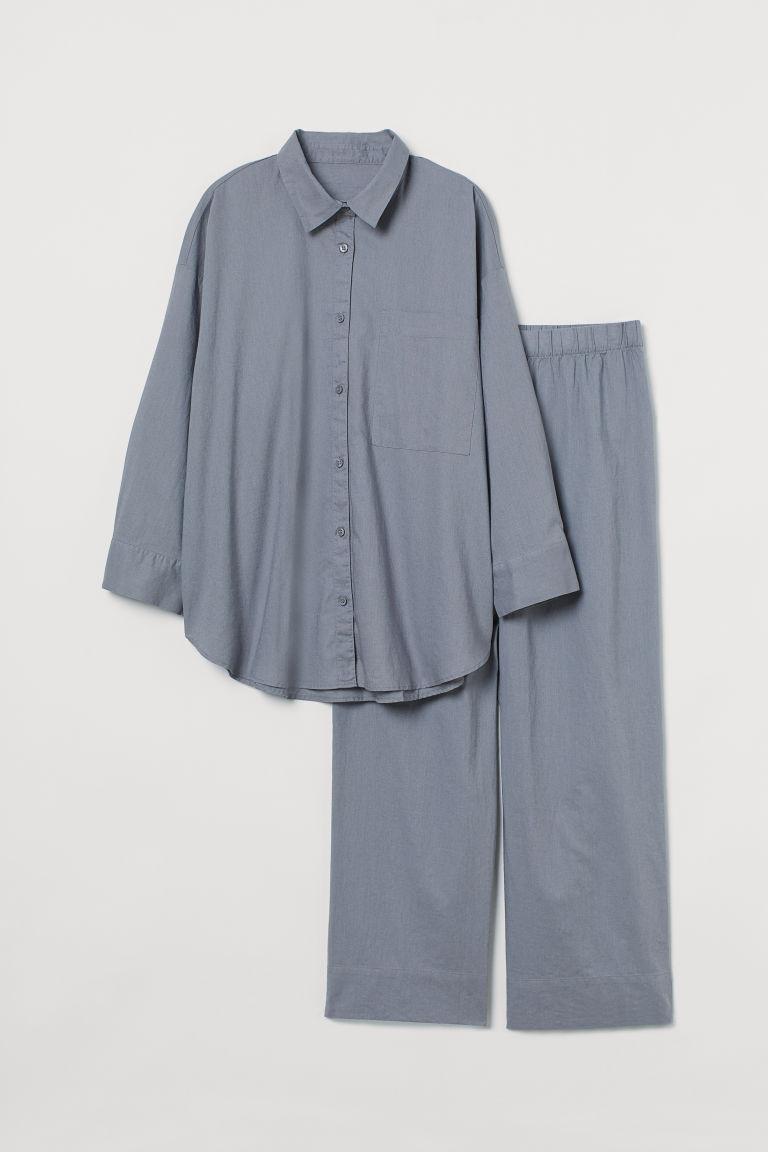 H & M - H & M+ 亞麻混紡睡衣套裝 - 灰色