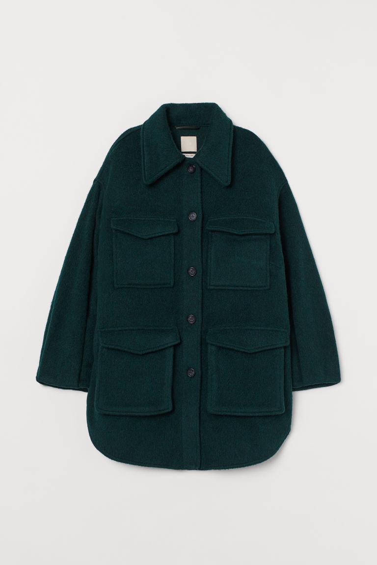 H & M - 羊毛混紡襯衫式外套 - 綠色