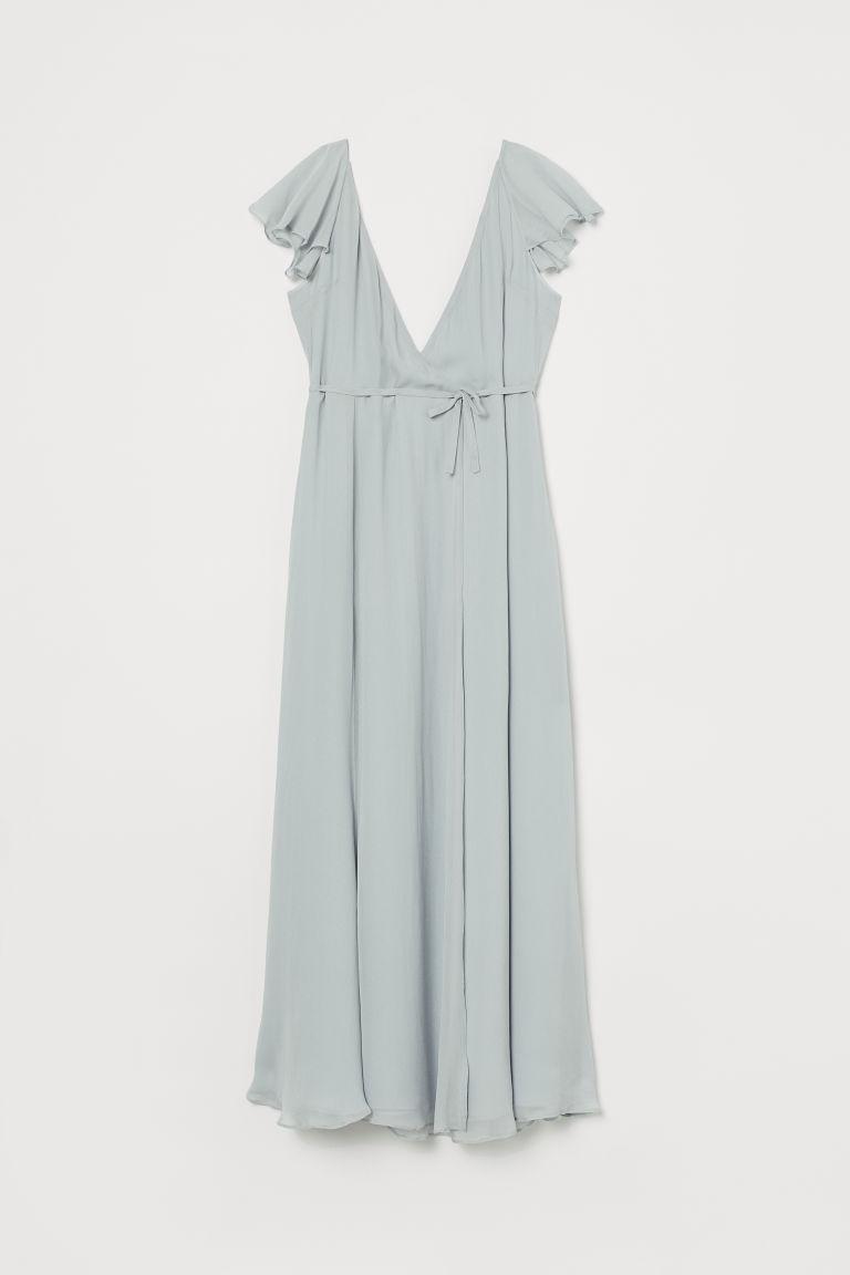 H & M - 交疊式長洋裝 - 藍綠色