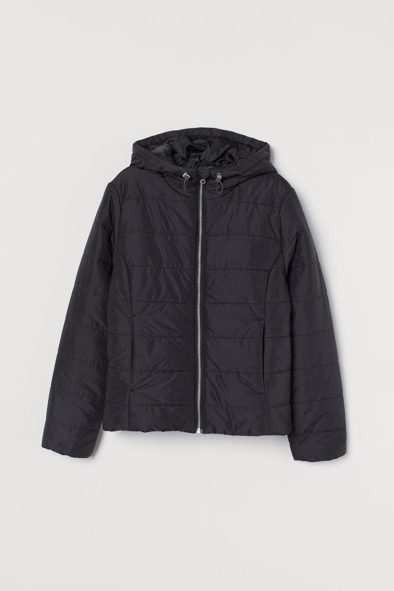 H & M - 連帽鋪棉外套 - 黑色