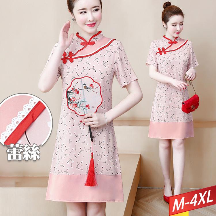 現貨 售完不補 白花滾蕾絲旗袍洋裝 M~4XL【013387W】【現貨】-流行前線-