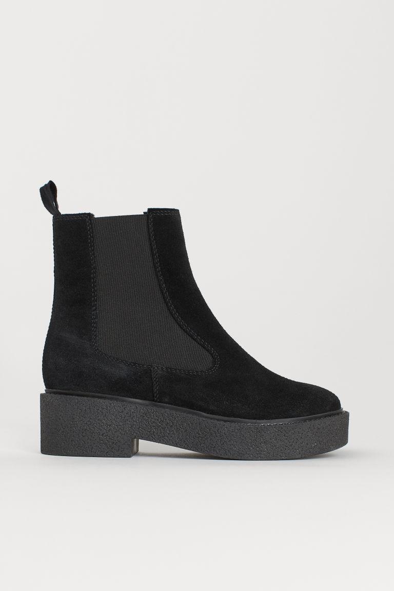 H & M - 麂皮靴 - 黑色