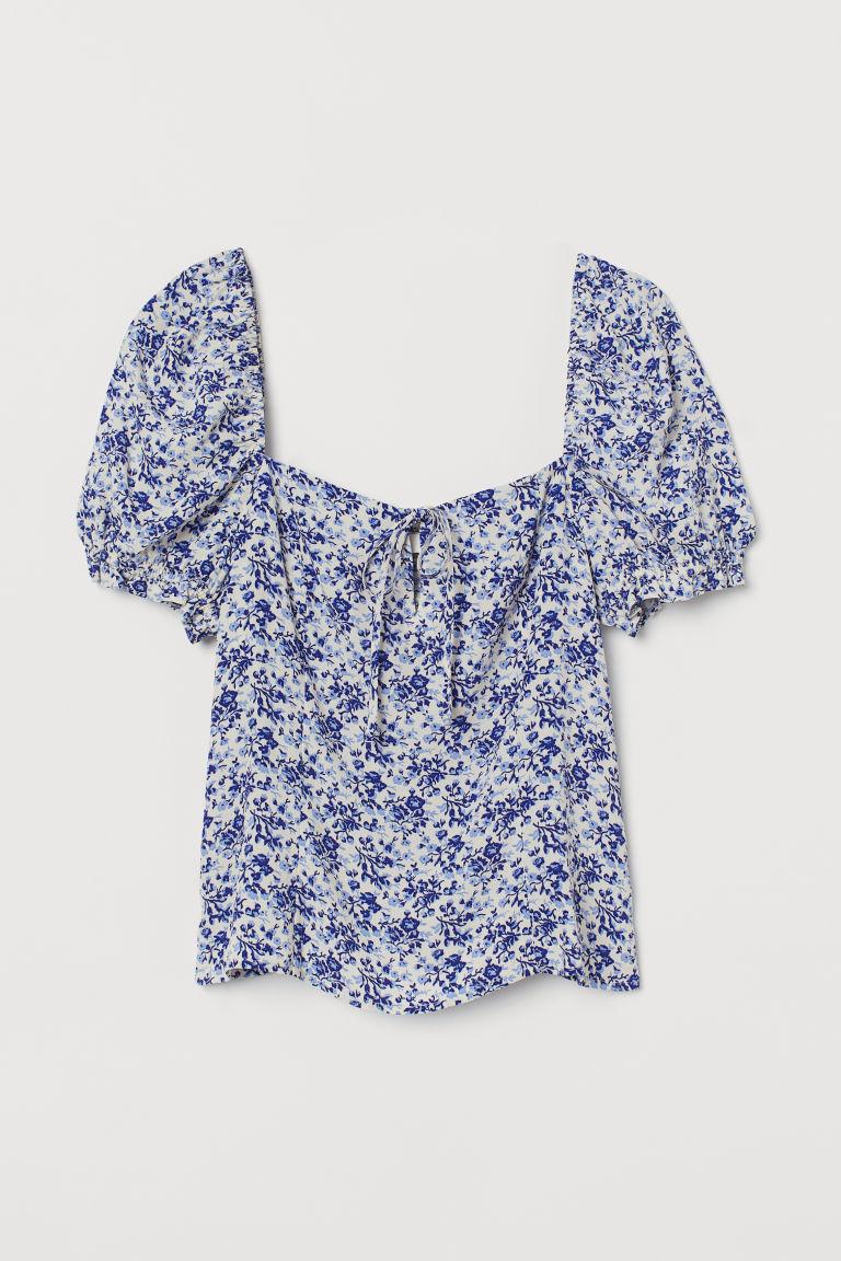 H & M - 縐紗女衫 - 藍色