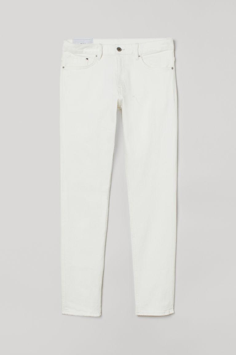 H & M - 貼身牛仔褲 - 白色