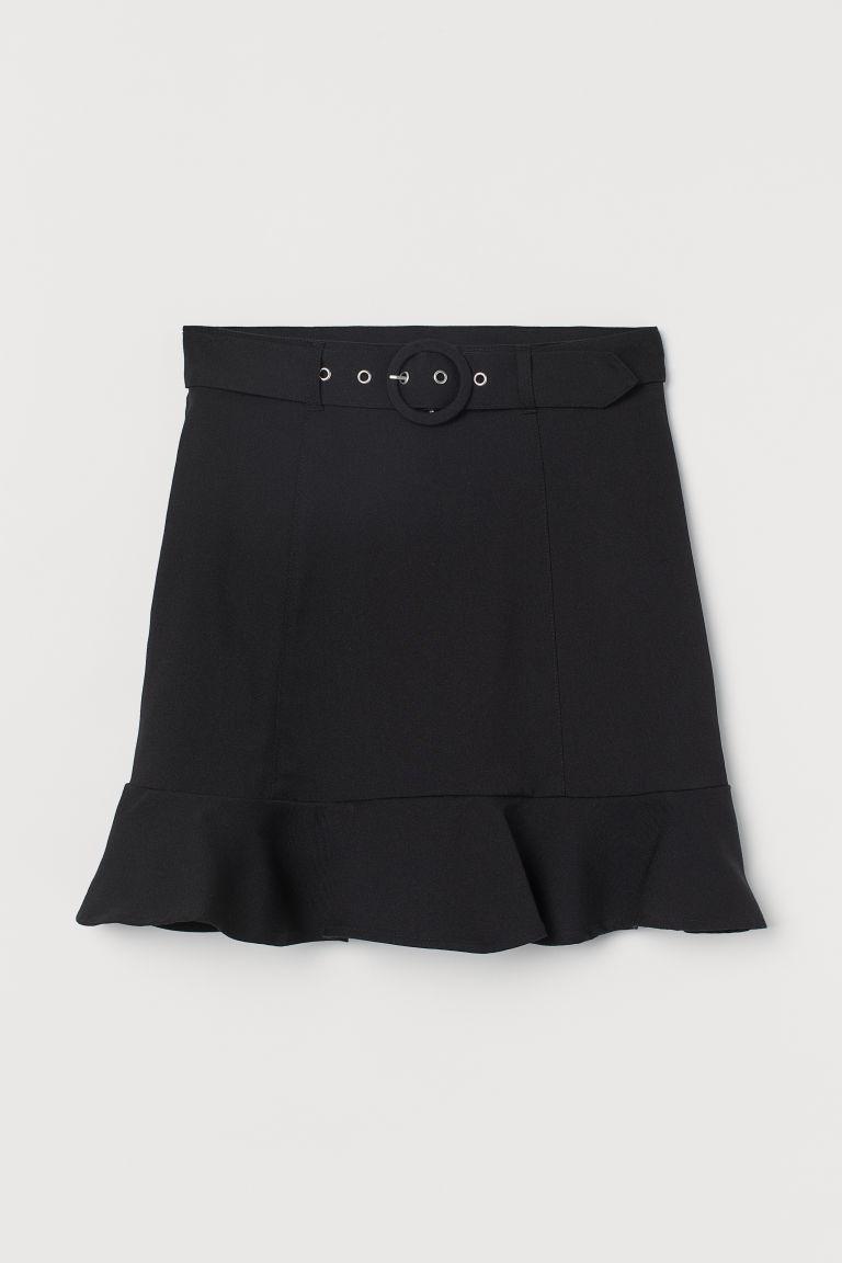 H & M - 配腰帶短裙 - 黑色