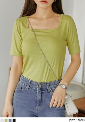 韓國空運 - 純色基本款方領短袖T恤 短袖上衣
