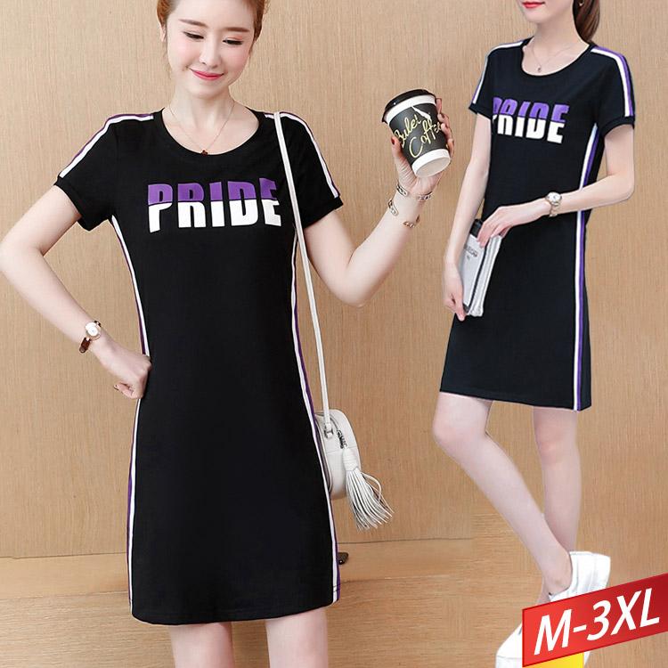 圓領撞色字母條紋連身裙 M~3XL【945006W】【現+預】-流行前線-