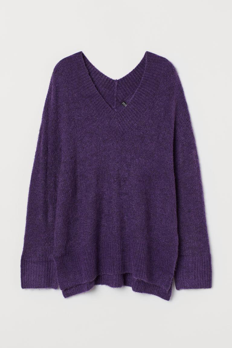 H & M - V領羊毛混紡套衫 - 紫色