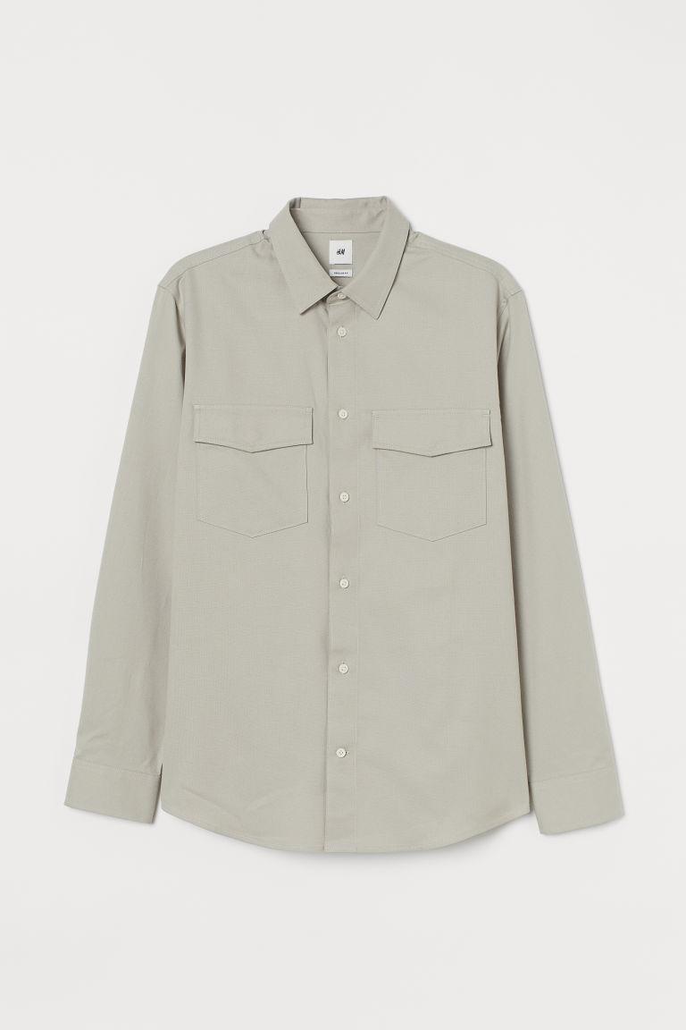 H & M - 標準剪裁棉質襯衫 - 褐色