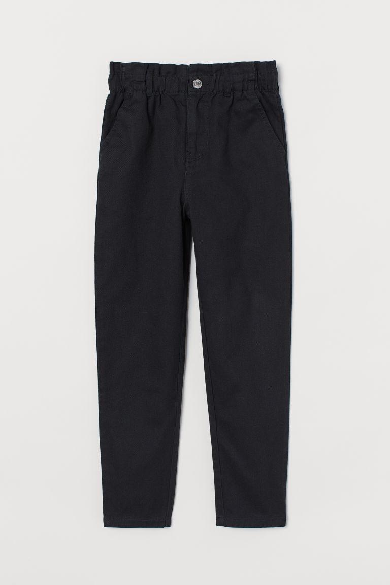 H & M - 寬鬆高腰長褲 - 黑色