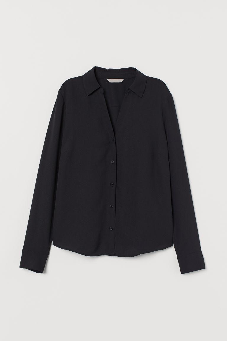 H & M - V領女衫 - 黑色