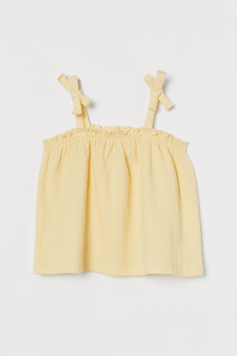 H & M - 縮褶上衣 - 黃色