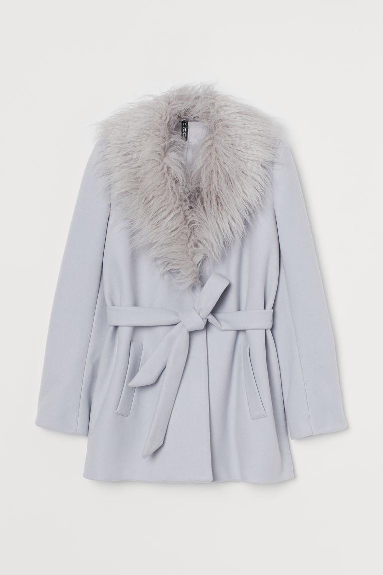 H & M - 仿皮草衣領大衣 - 灰色