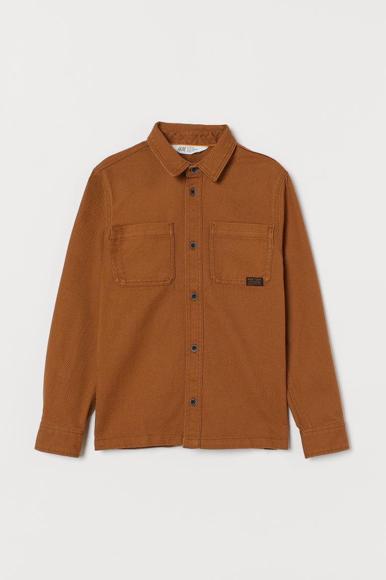 H & M - 棉質工作襯衫 - 米黃色