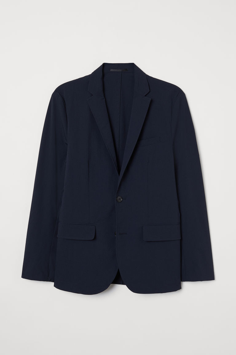 H & M - 貼身西裝外套 - 藍色