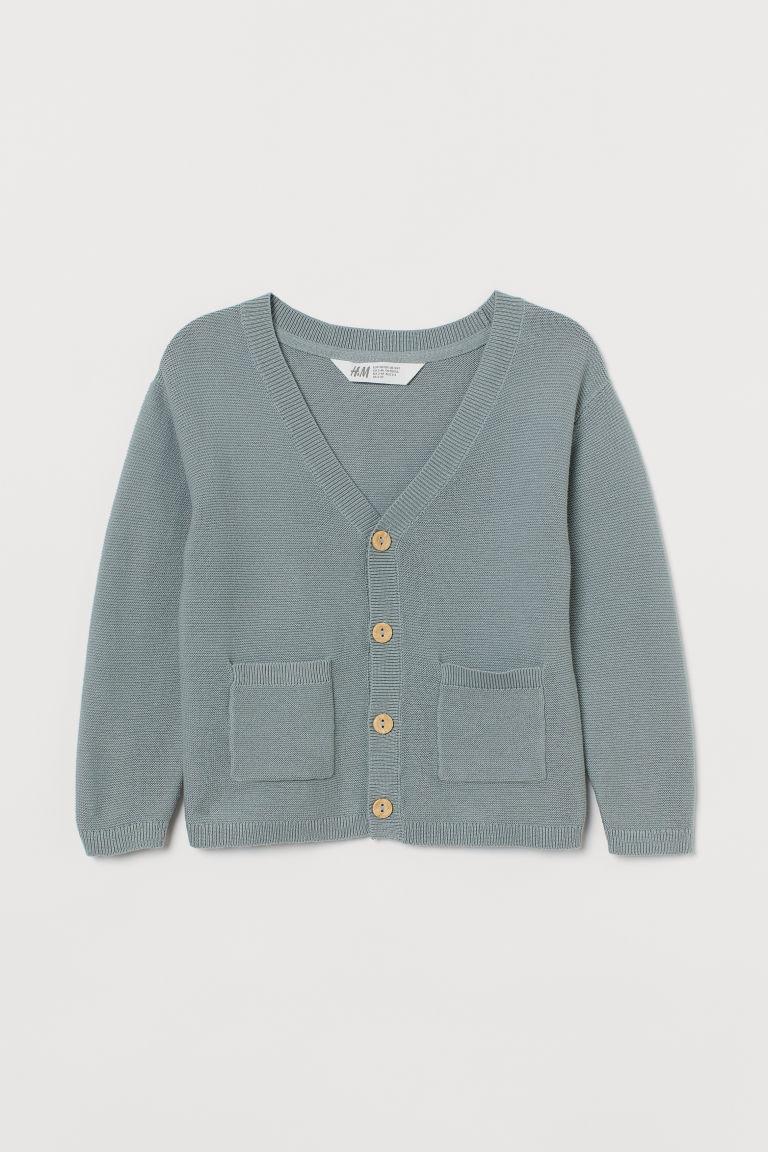 H & M - 精織開襟衫 - 藍綠色