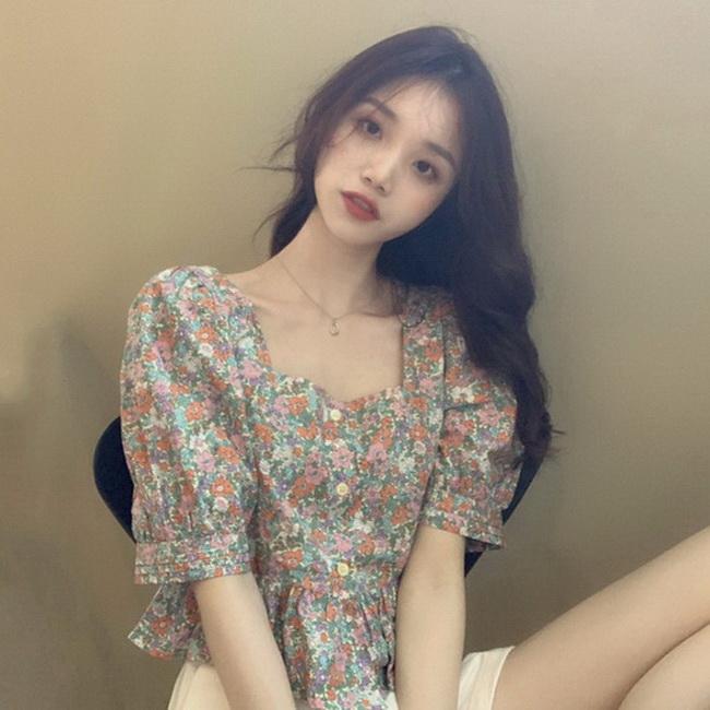 FOFU-韓國春夏復古好看夏日碎花方領短袖襯衫上衣【08SG05909】