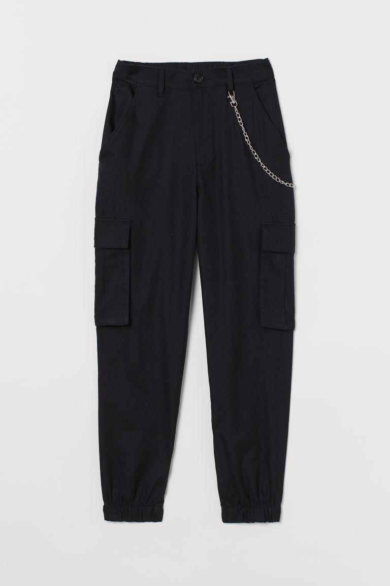 H & M - 附鑰匙鍊工作褲 - 黑色