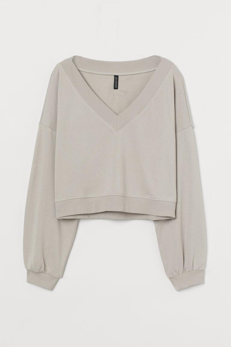 H & M - V領運動衫 - 褐色