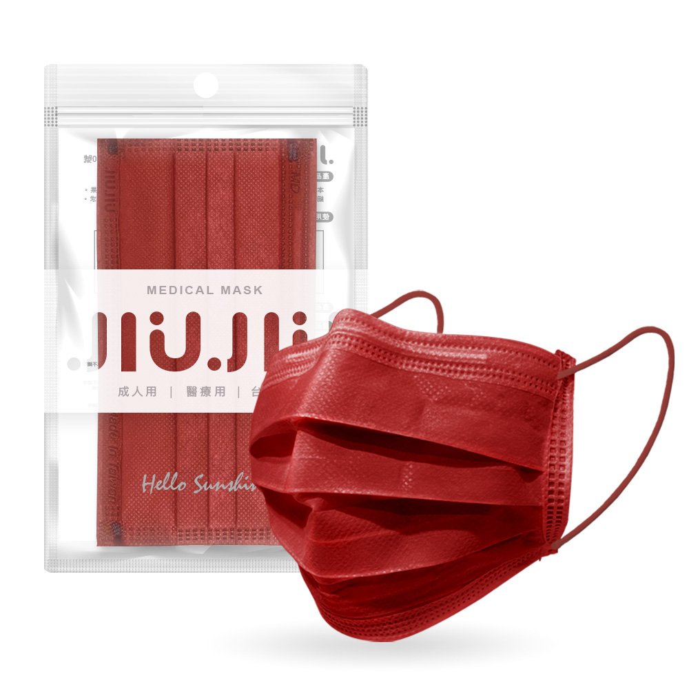 親親JIUJIU醫用口罩-絲絨胭紅5入 【康是美】