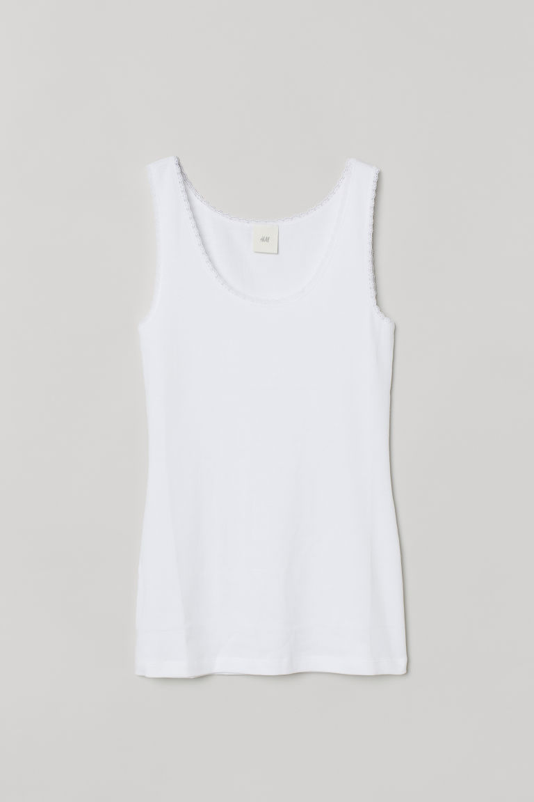 H & M - 蕾絲飾邊背心上衣 - 白色