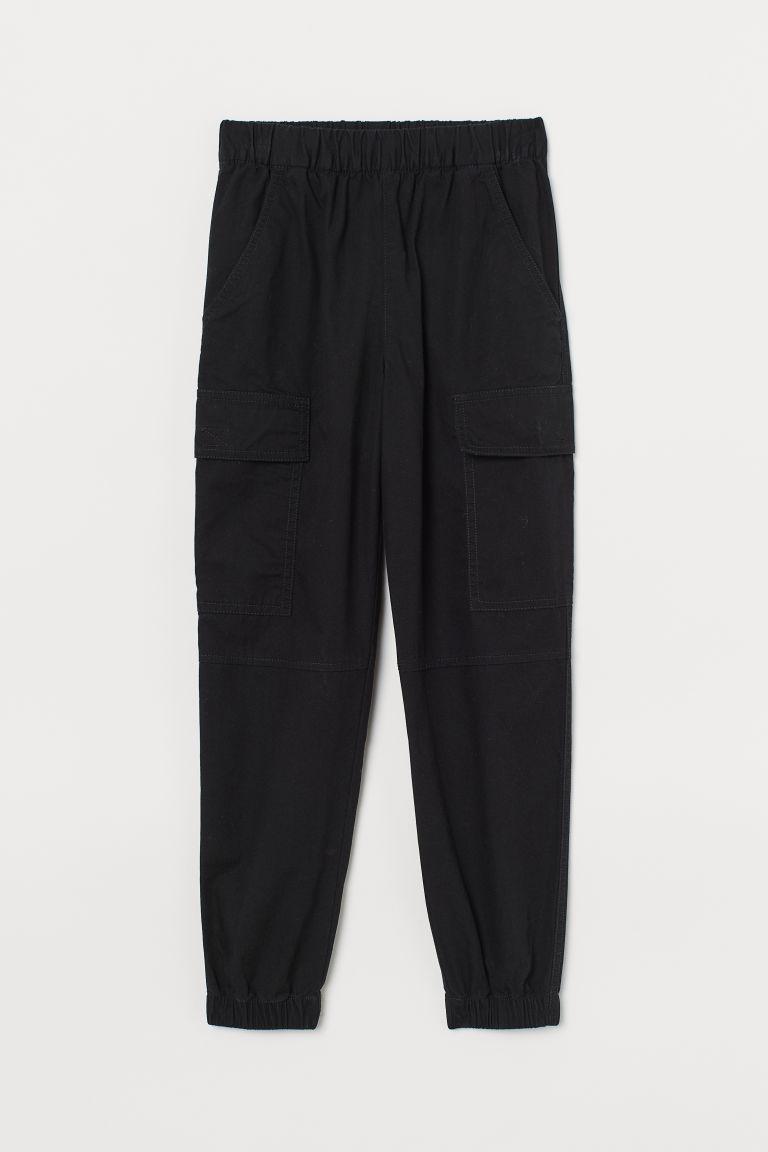 H & M - 棉質工作褲 - 黑色