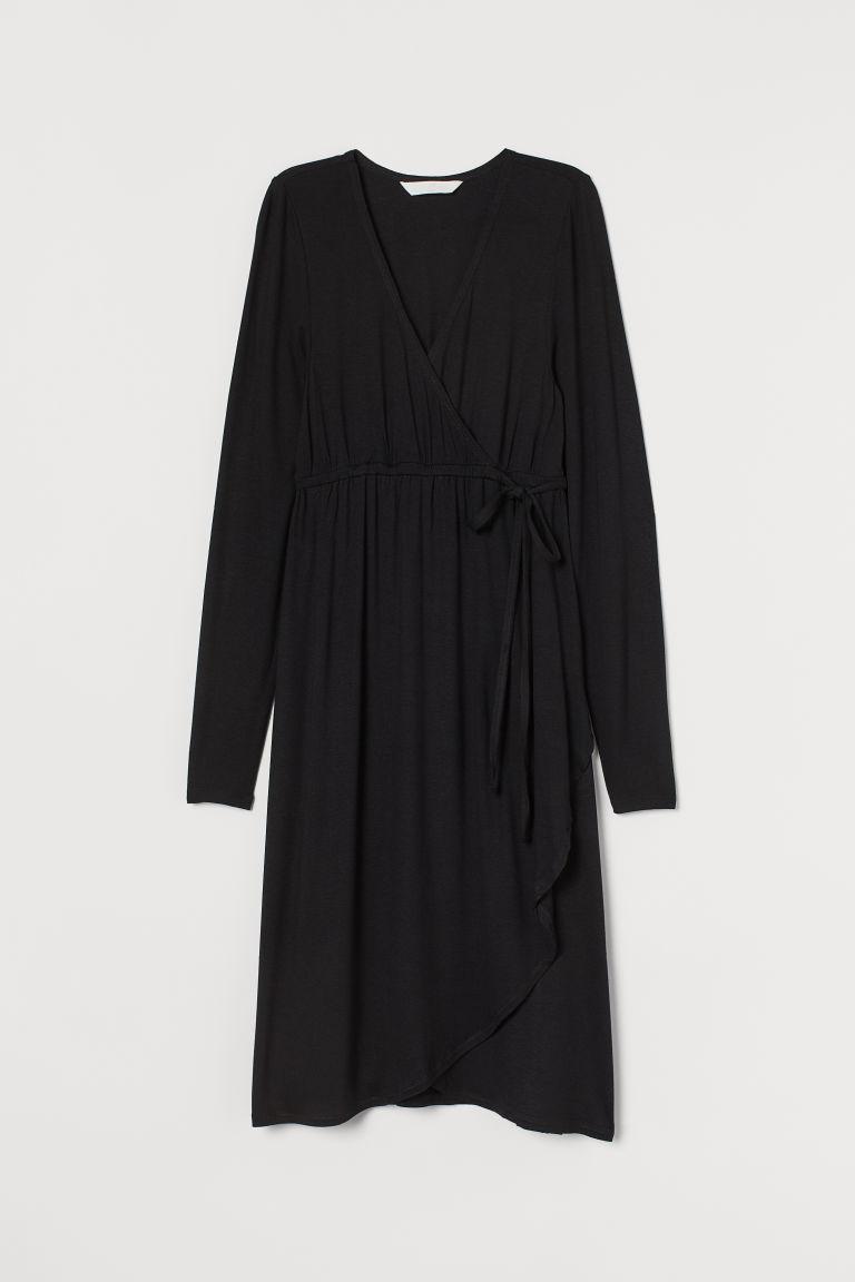 H & M - MAMA 交疊式洋裝 - 黑色
