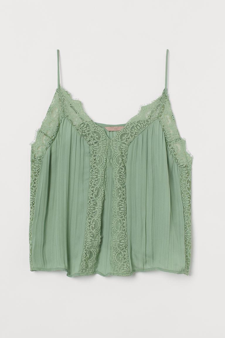 H & M - H & M+ 蕾絲飾邊細肩帶上衣 - 綠色