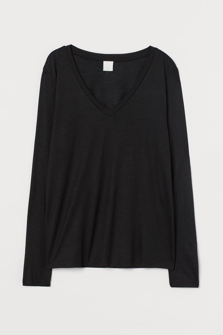 H & M - V領平紋上衣 - 黑色