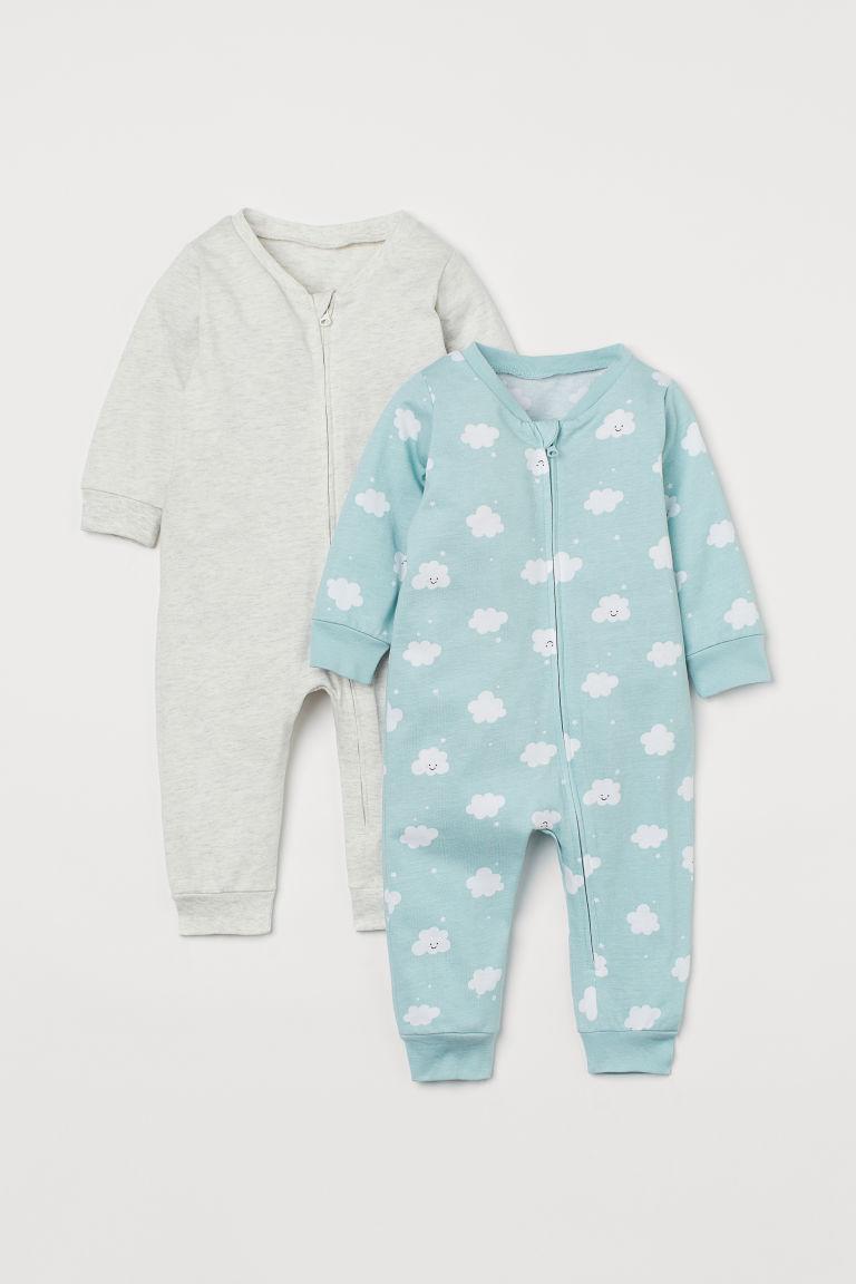 H & M - 2套入拉鍊式睡衣套裝 - 藍綠色