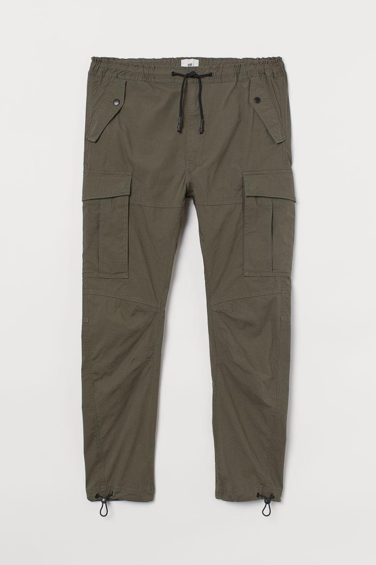 H & M - 棉質工作褲 - 綠色