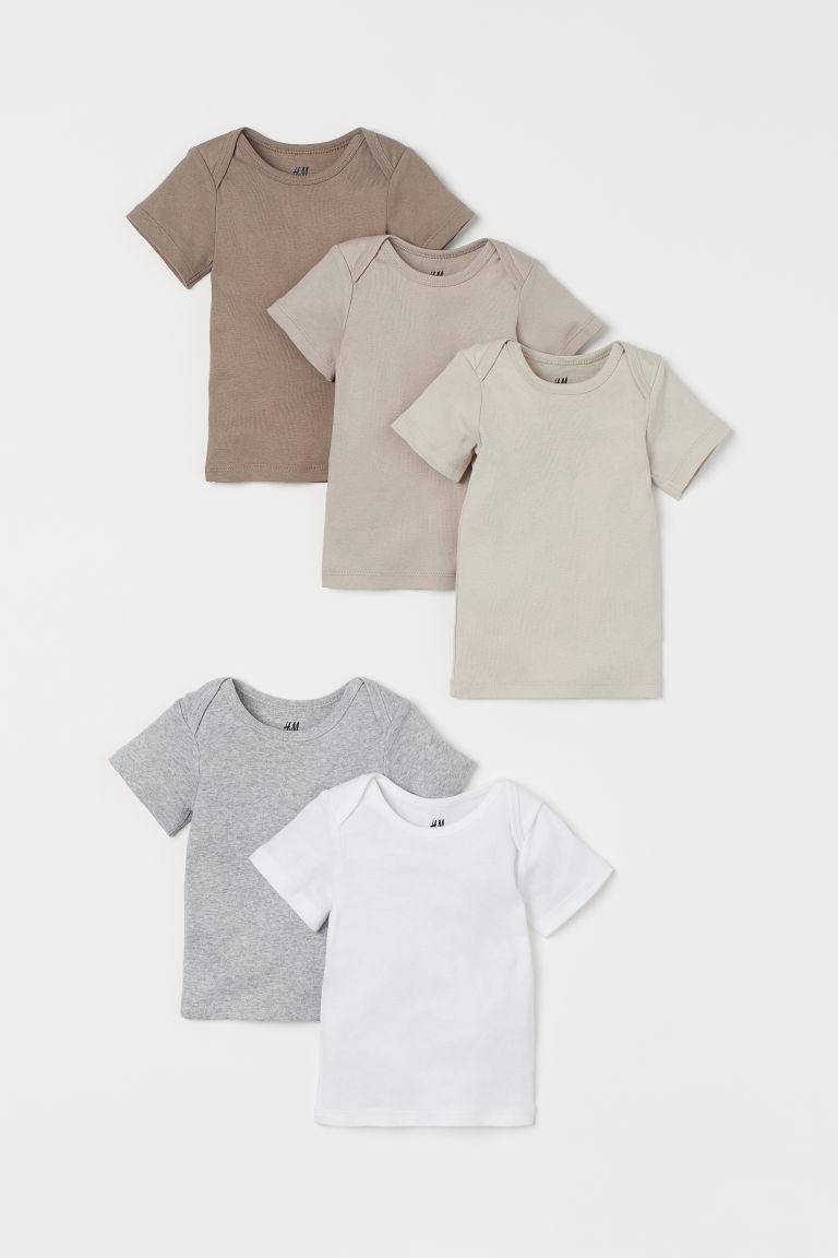 H & M - 5件入棉質T恤 - 褐色