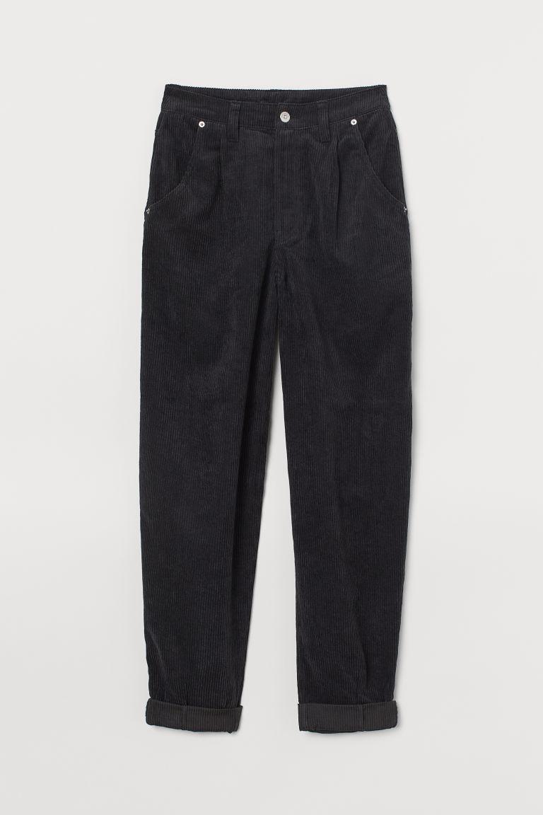 H & M - 絨布長褲 - 黑色