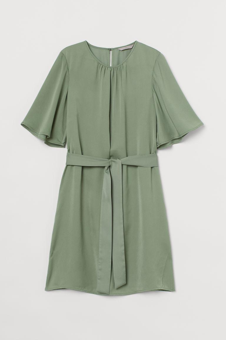 H & M - 綁帶綢緞洋裝 - 綠色