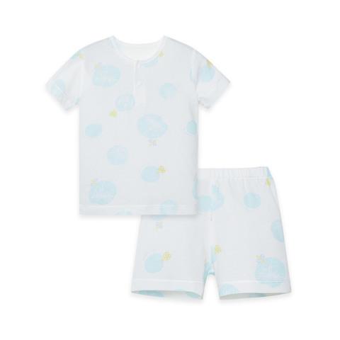 【Cloudy雲柔系列】麗嬰房 植物印花短袖兩粒扣套裝(短袖+短褲組)-白色 (76cm~130cm)