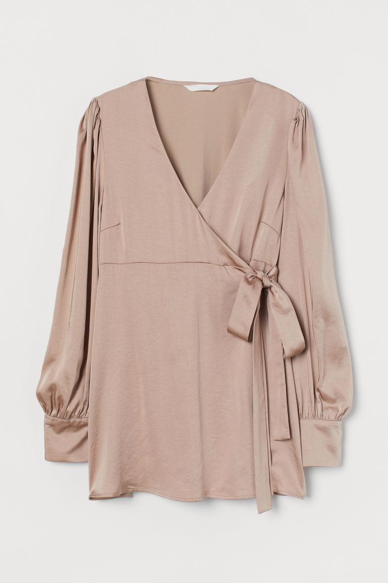 H & M - MAMA 綢緞交疊式女衫 - 米黃色