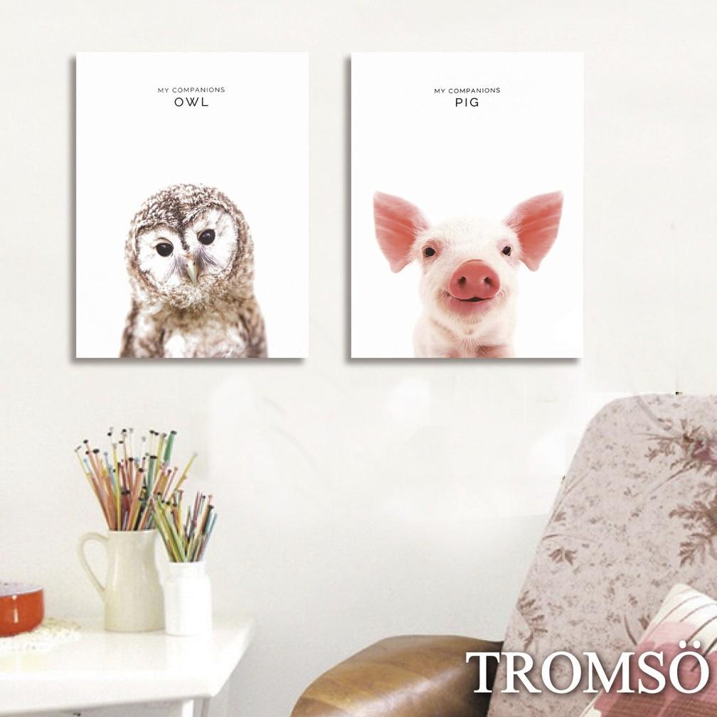 TROMSO時尚無框畫-小豬貓頭鷹W263-30x40cm/兩幅一組可寫實動物客廳臥室掛畫【H0309346】