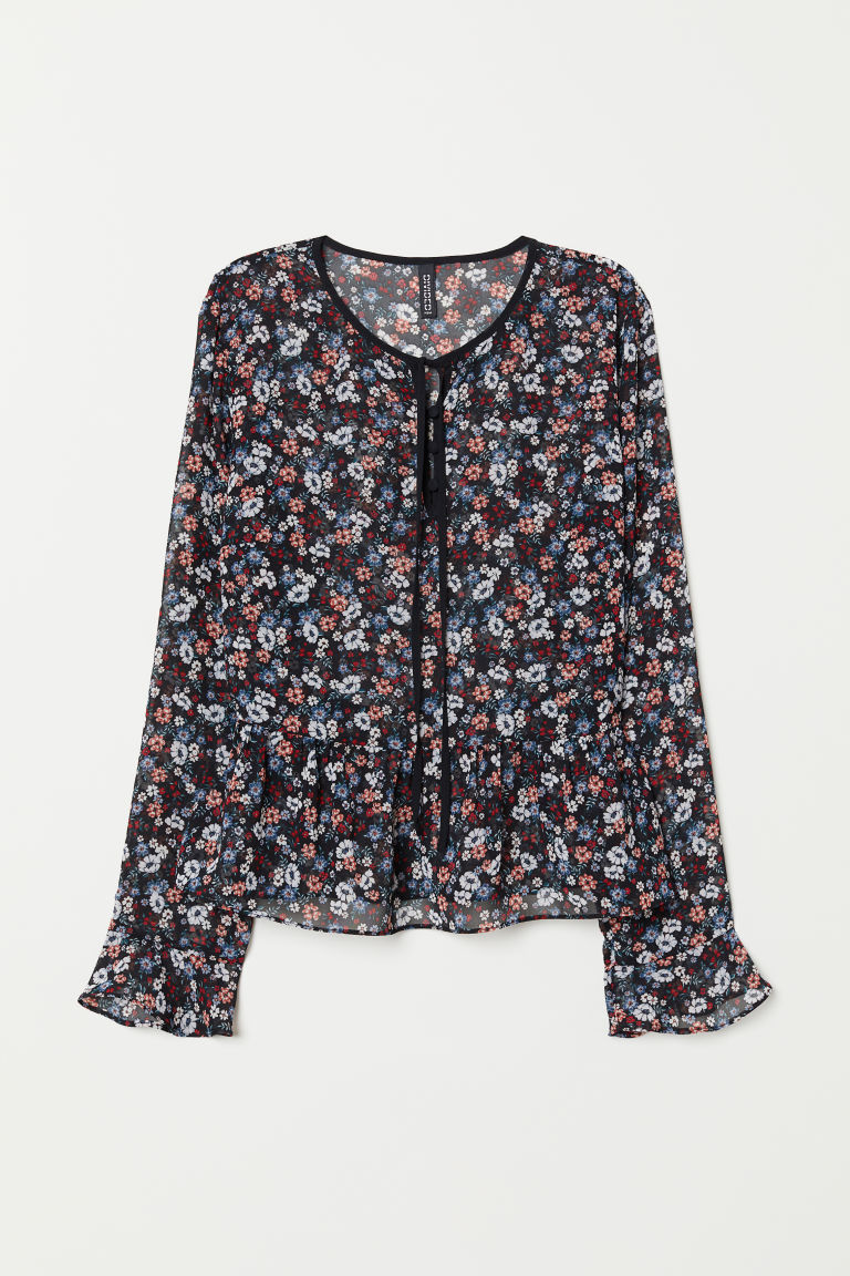 H & M - 雪紡女衫 - 黑色