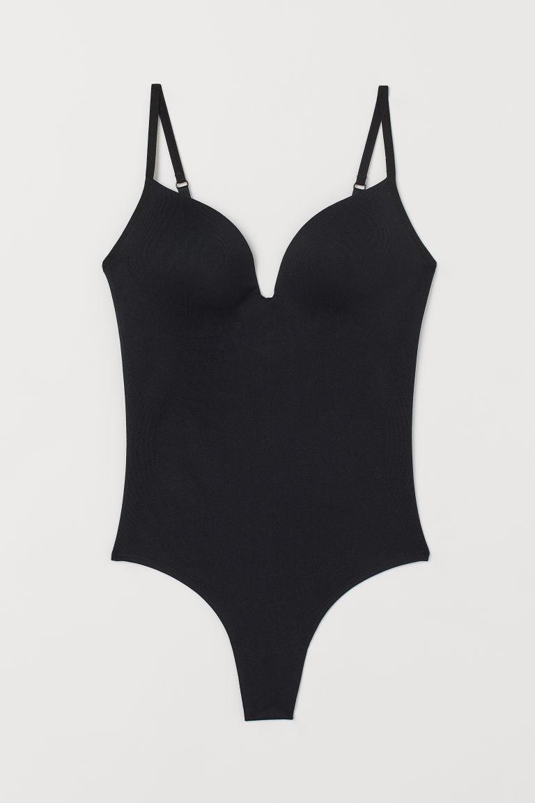 H & M - 無痕微塑身緊身連身衣 - 黑色
