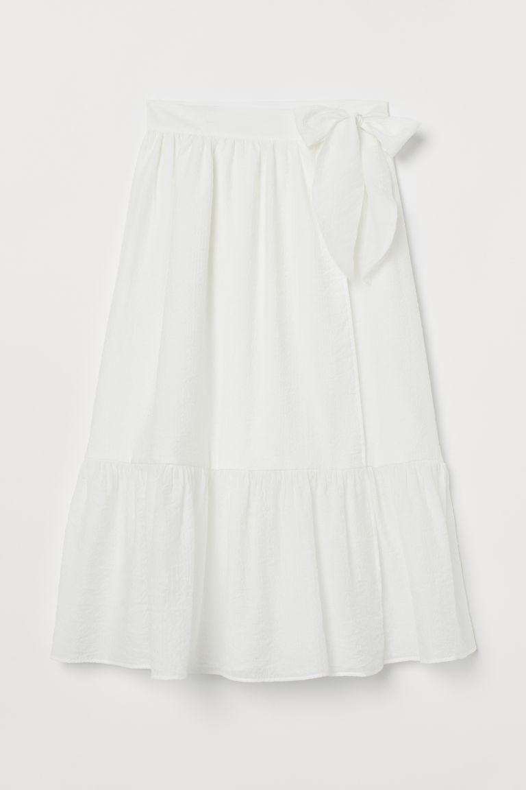 H & M - 蝴蝶結飾中長裙 - 白色