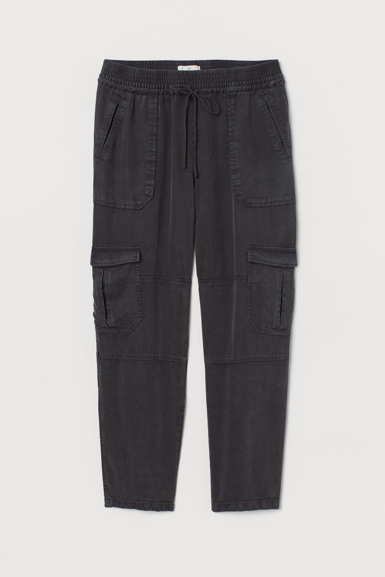 H & M - 鬆緊式長褲 - 灰色