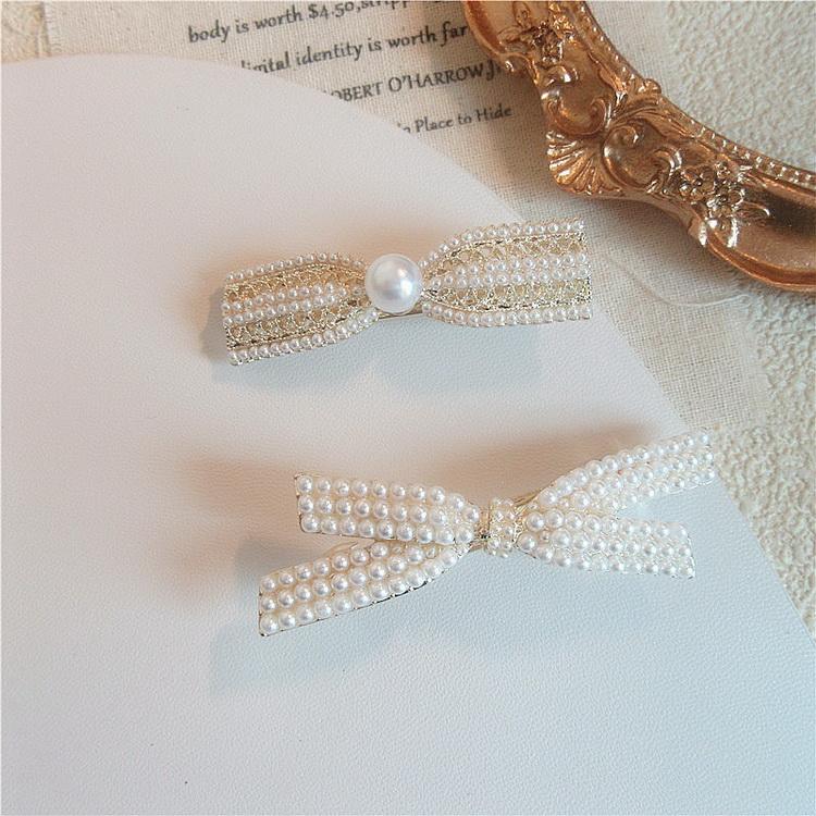 VIVILIAN韓單獨家滿版珍珠立體蝴蝶結髮夾瀏海夾