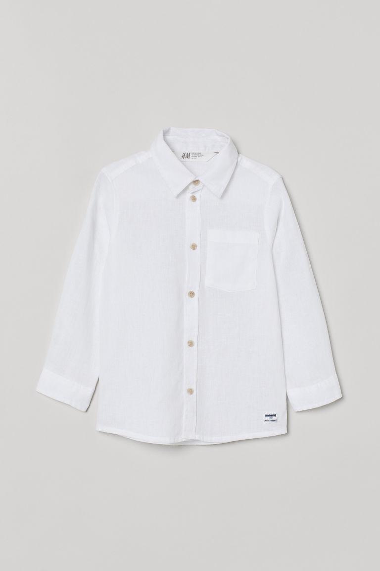H & M - 亞麻混紡襯衫 - 白色