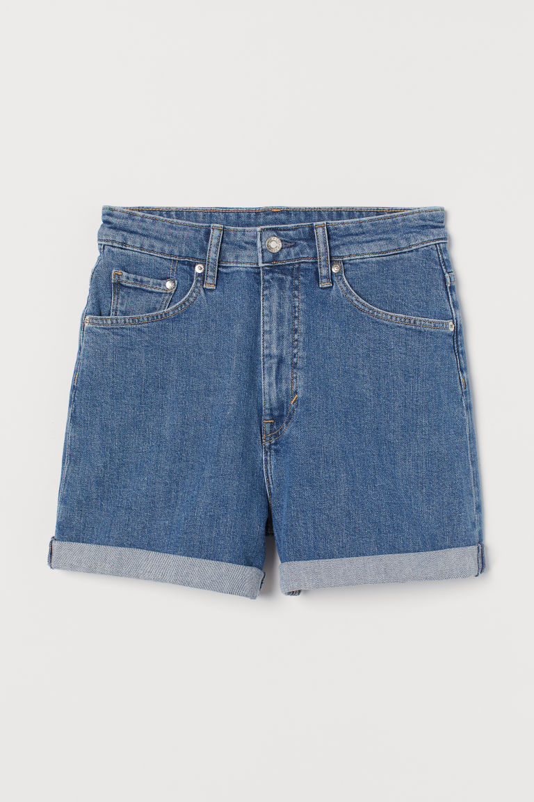 H & M - 老媽超高腰丹寧短褲 - 藍色