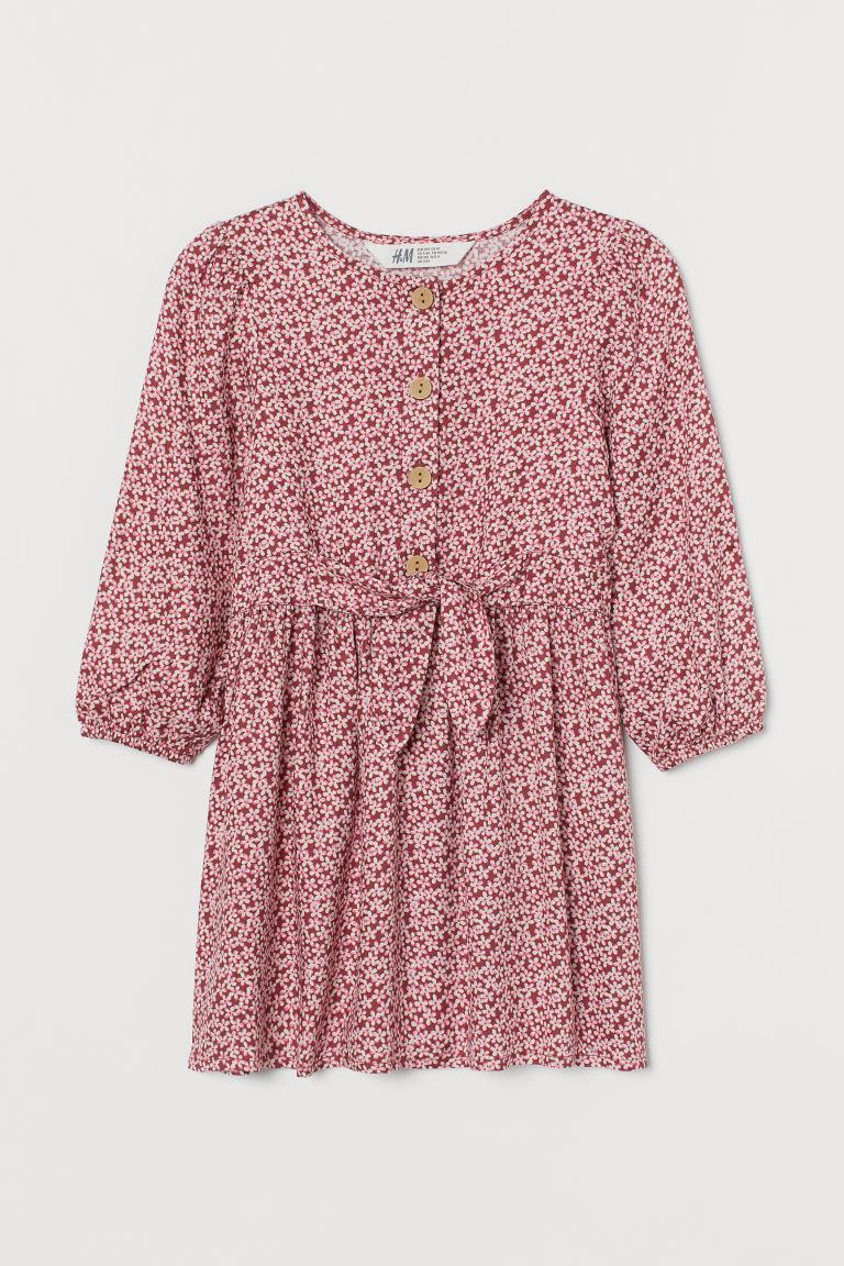 H & M - 結飾嫘縈洋裝 - 紅色