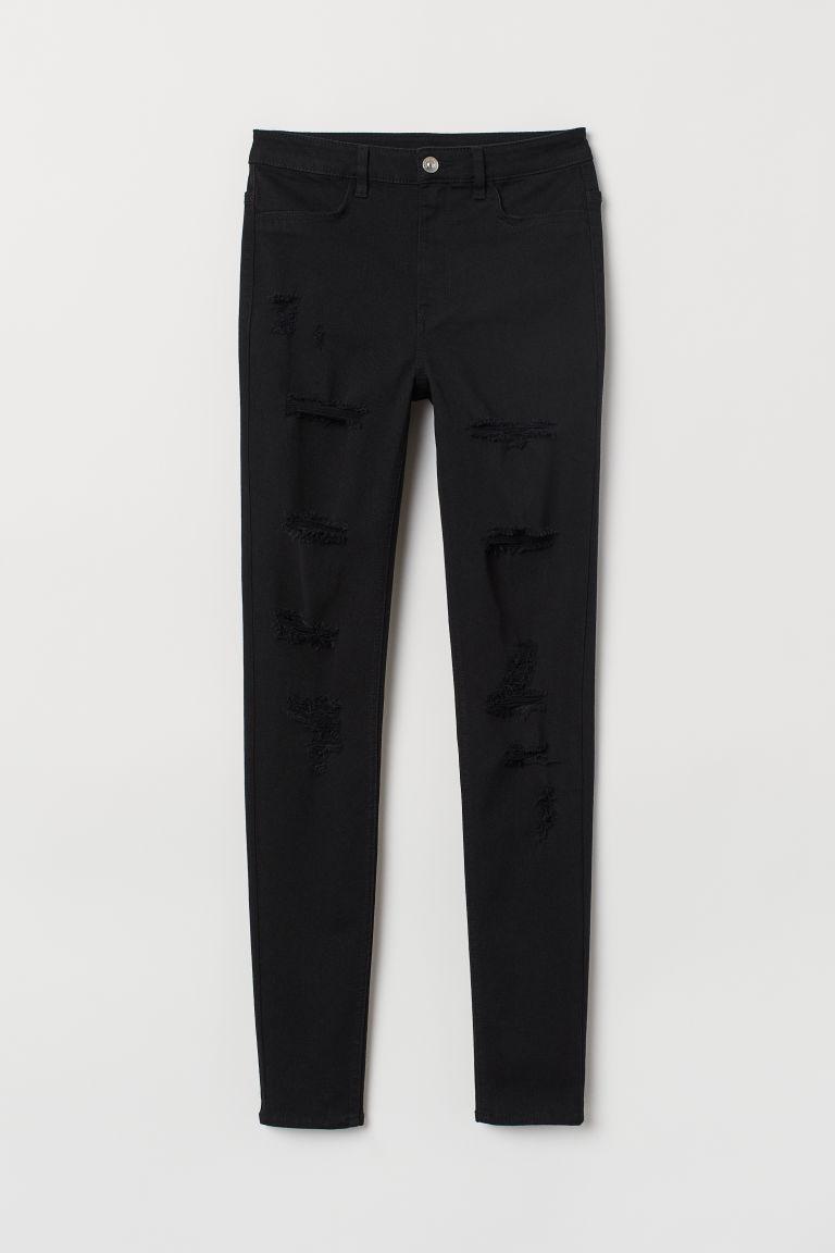 H & M - 超窄管高腰牛仔褲 - 黑色